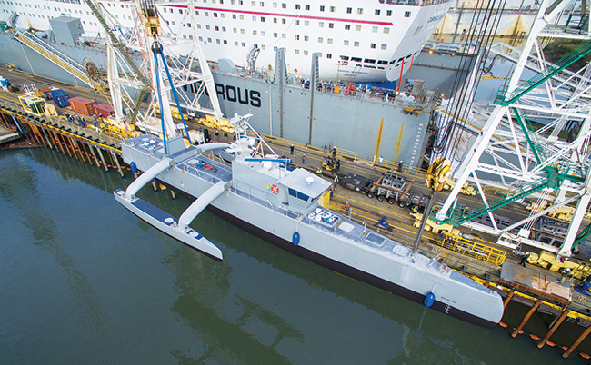 The Defense Advanced Research Projects Agency (DARPA)'s anti-submarine warfare continuous trail unmanned vessel (ACTUV) is a new class of unmanned ocean-going vessels able to travel thousands of miles over the open seas for months at a time, without a crew, and with a high degree of autonomy in operation. The ACTUV technology demonstrator was launched at its construction site in Portland, Oregon, on April 7, 2016.
