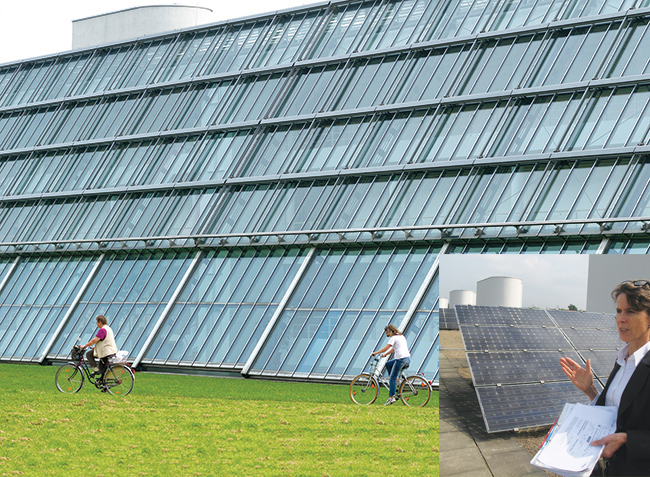 The Science Park in Gelsenkirchen, Germany, was built on the site of a former coal-powered steel plant. The building's glass facade looks over a man-made lake flanked by rolling lawns, and its roof is outfitted with 900 solar panels that generate a third of the building's electricity. Hildegard Boisserée-Frühbuss (inset), project manager of the park, says the building houses 55 businesses mostly focused on science, technology, and renewable energy development.
