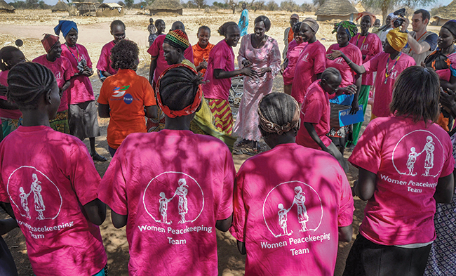 Nonviolent Peaceforce teams meet with local female peacekeeping teams in North Bahr el Ghazal, South Sudan, in February 2017. Typically, at least half of civilian protectors come from the host country, with women making up more than 40 percent of the ranks.