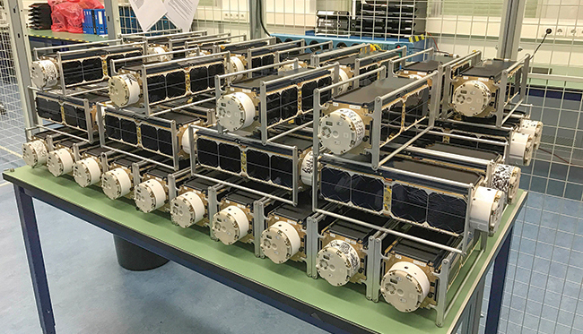 Dove satellites, known as Flock 2K, are prepped for launch.