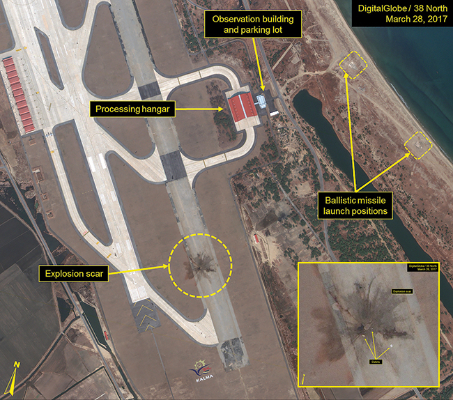 These satellite photos of the Kalma Ballistic Missile Test Site in North Korea were taken March 28, 2017. The range of these satellites captures the evidence of a failed missile test at the Kalma International Airport. Inset: A close-up of the explosion scar shows debris.