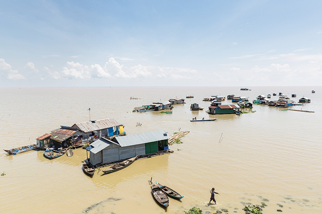 A floating village on the Tonlé Sap Lake.