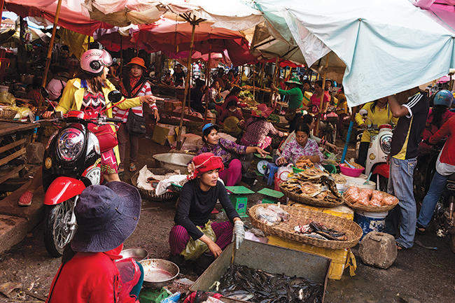 Phsar Leu Market in the center of Siem Reap province.