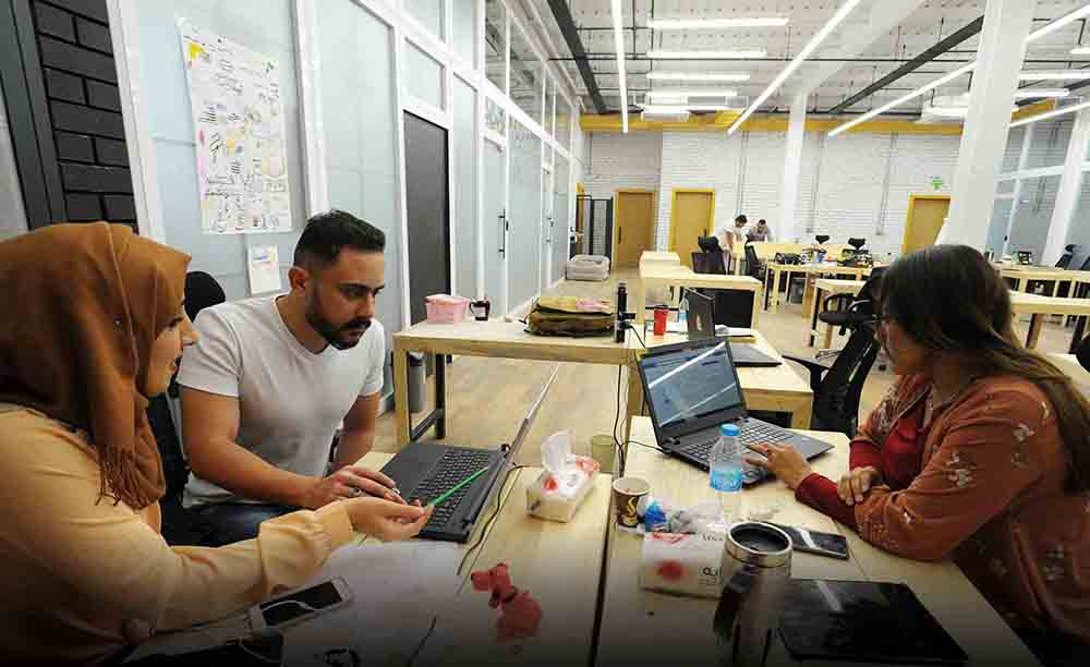 Iraqis at the first coworking space for start-up entrepreneurs, called the Station, in Baghdad on April 17, 2018. The structural challenges facing young Iraqi entrepreneurs are significant. Business owners in Iraq note that it is impossible to operate without paying exorbitant bribes, often to tribal organizations and midlevel bureaucrats in charge of facilitating contract and permissions processes.