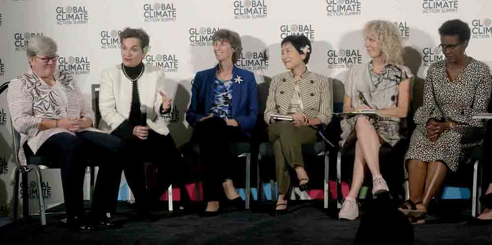 "Discussing the upcoming Climate Vulnerable Forum summit during a panel in September at the Global Climate Action Summit are Rachel Kyte (from left), CEO of Sustainable Energy for All and CVF summit champion cochair; Christiana Figueres, former executive secretary of the UN Framework Convention on Climate Change; Laura Tuck, vice president for sustainable development at the World Bank; Naoko Ishii, CEO of Global Environment Facility; Jennifer Morgan, executive director of Greenpeace International; and Winnie Byanyima, executive director of Oxfam International. The women, who are ""champions"" for the CVF summit, are pushing for increased climate ambition during the November online meeting."