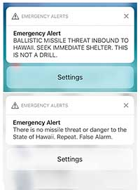 Screenshots from a cell phone display an alert for a ballistic missile launch and subsequent false alarm January 13, 2018, in Hawaii.