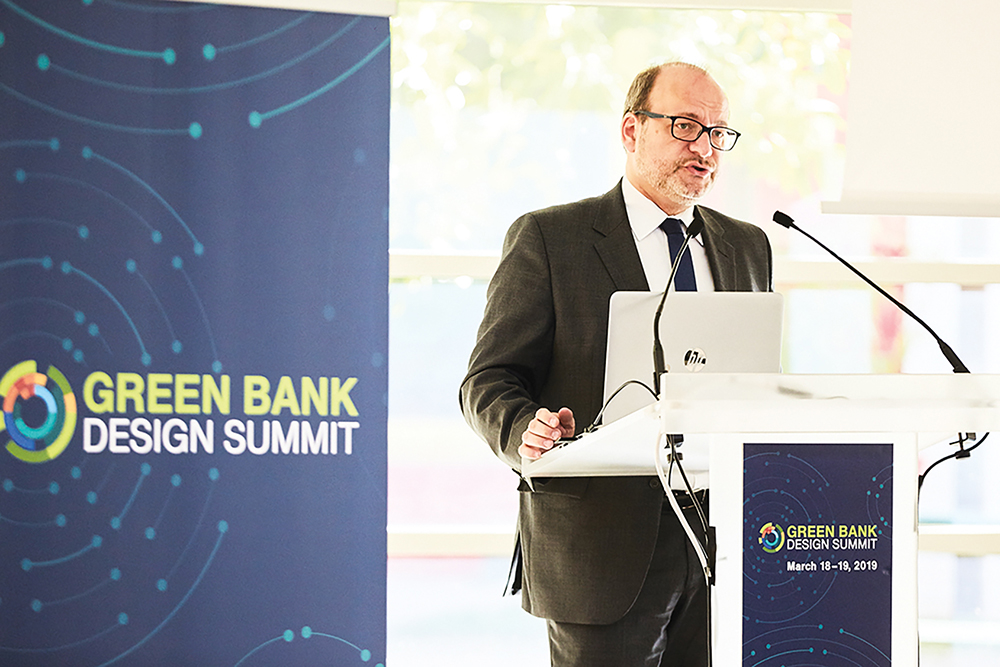 Remy Rioux, chief executive officer of the Agence Française de Développement, speaks to participants at the Green Bank Design Summit in March 2019.
