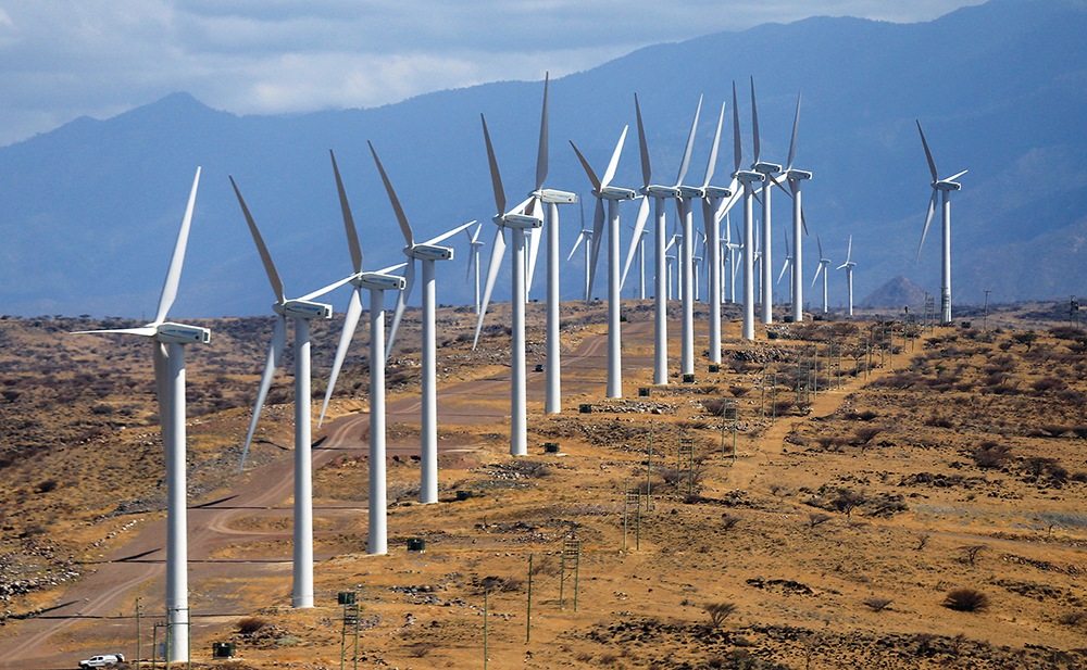 Power-generating wind turbines at the Lake Turkana Wind Power project, northern Kenya. Despite commitments of this size and scope, investments need to scale significantly to bridge the climate finance gap.
