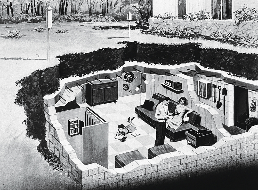 Depiction of a family in their underground bomb shelter, early 1960s, a tense period of the Cold War.
