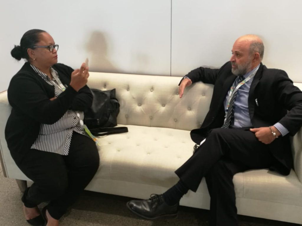 Polanco interviews Carlos Manuel Rodríguez, the Environment and Energy Minister of Costa Rica, at the Global Climate Action Summit in San Francisco.
