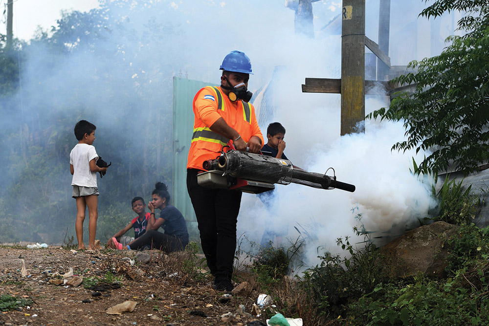 Following an unusually long rainy season, Honduras is placed under a national alert for dengue fever—a deadly infection carried by the aedes aegypti mosquito. Seen here, a fumigation operation underway to combat the mosquito in a neighborhood of Tegucigalpa, the capital of Honduras.