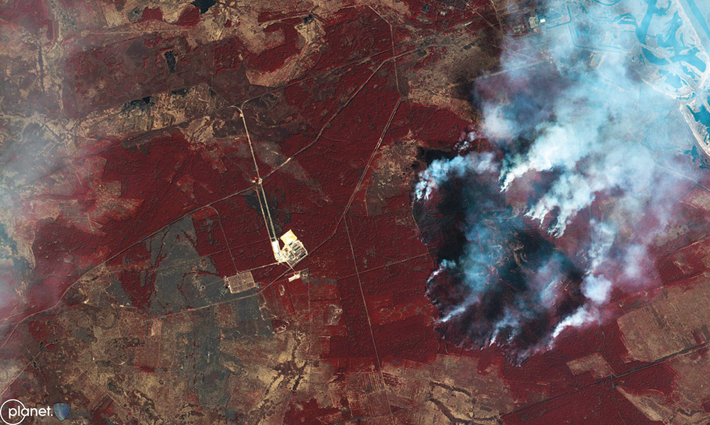 Satellite imagery shows forest fires just south of the shuttered Chernobyl nuclear power plant in Ukraine, April 8, 2020. Increased availability of satellite imagery has made it accessible to civil society in recent years.